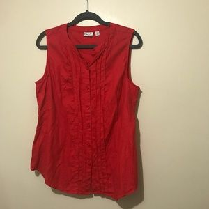 5/$30 Kim Rogers Red Buttoned Sleeveless Shirt